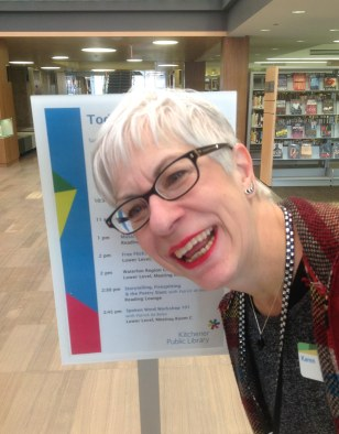 Library assistant Karen, just before the doors open for the day.
