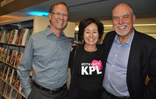 Linda Jutzi, executive director of the DTK BIA, with Peter Scharman (L) and Merv Schwantz (R)