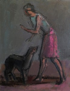 Woman Scolding Dog, oils 24_ x 18_ copy