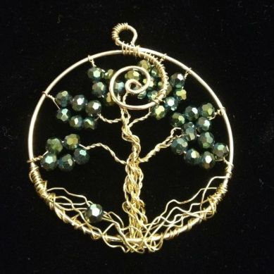 green tree of life pendent