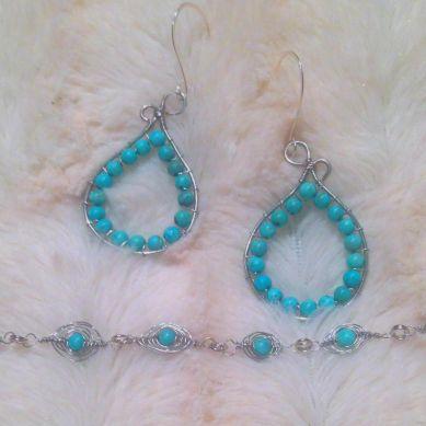 earrings and herringbone wire wrap