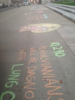 Lung Cancer Awareness Chalk Drawing