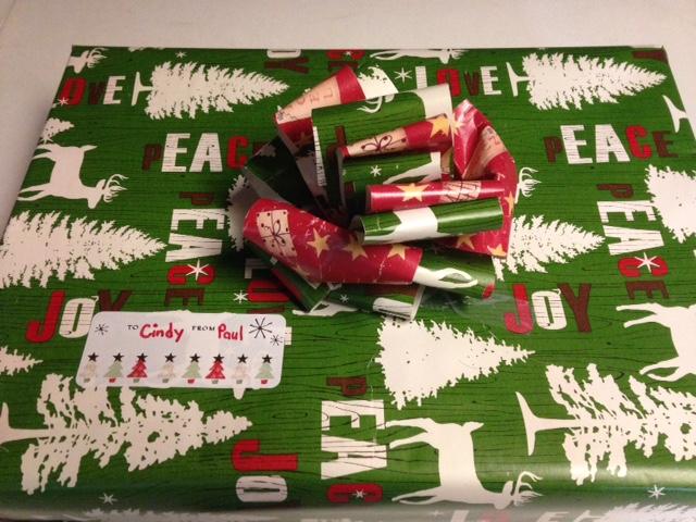 Christmas gift with handmade bow