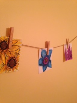 hanging water colors of flowers