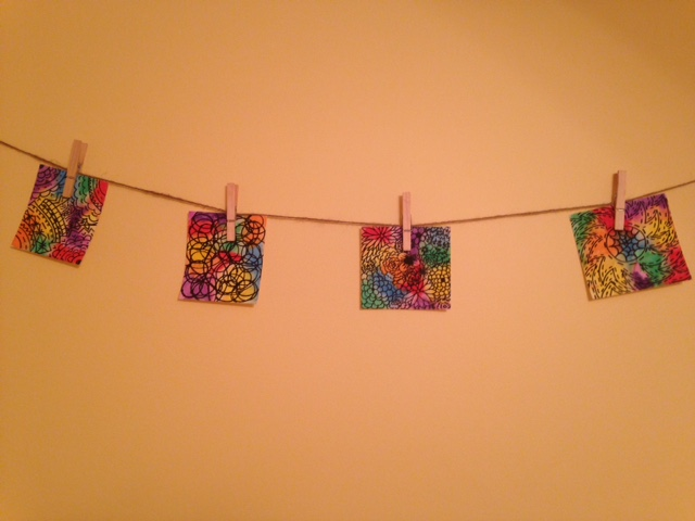 hanging colorful design water colors