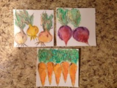 close up of watercolor vegetables