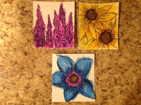 close up of watercolor flowers