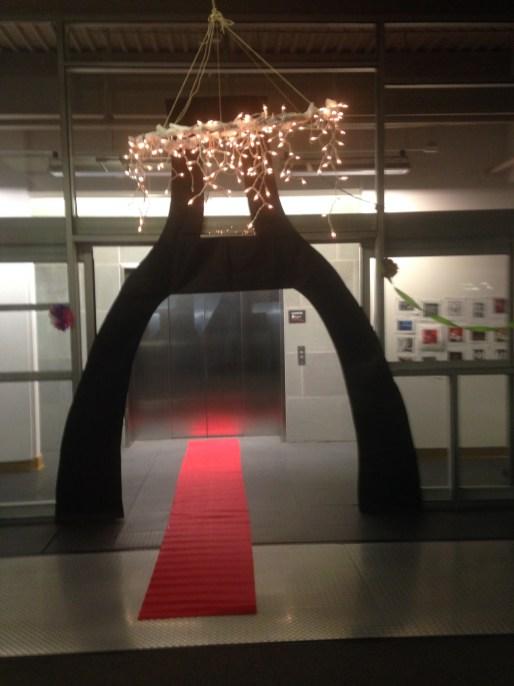 DIY hoola hoop chandelier, red carpet and Eiffel tower silhouette