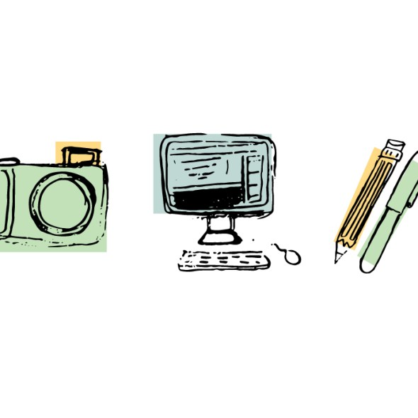 camera, computer, pencil, and pen