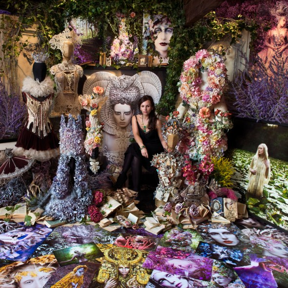 Kirsty Mitchell amongst her work