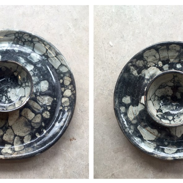 two chip and dip dishes with bubble glaze