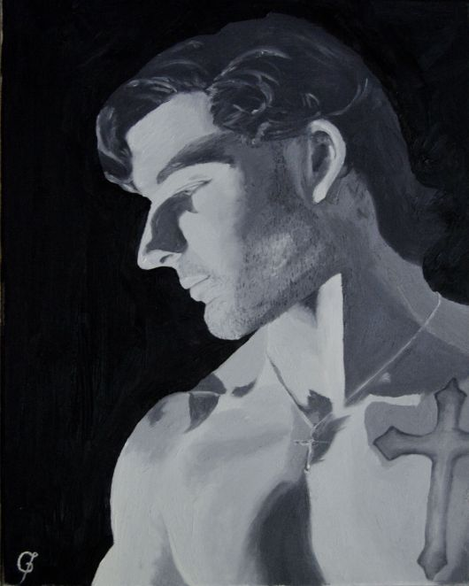 male portrait painting in black and white