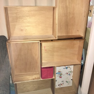 Dresser drawers organized into a shelving unit