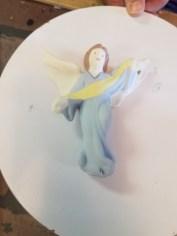Painted ceramic angel