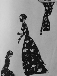 3 girls outlined with patterns