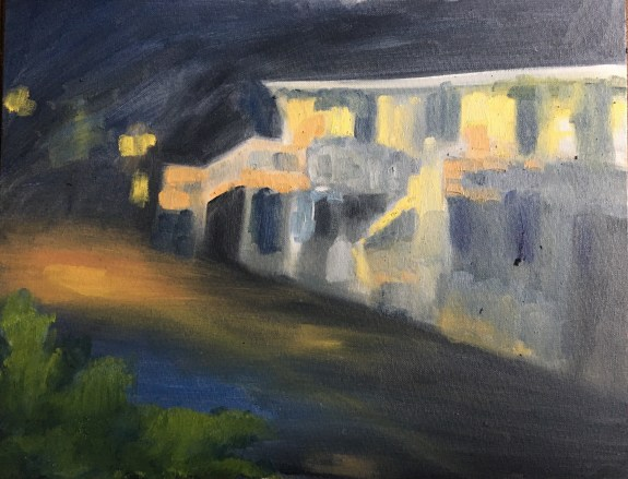 Dark street scene blocked out with shapes only