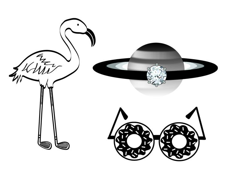 flamingo, planet, and glasses