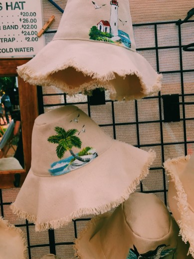hand painted palm tree and light house on a hat