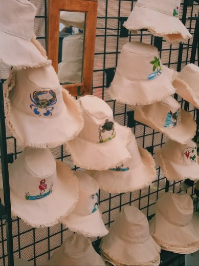 hats hand-painted with an ocean theme