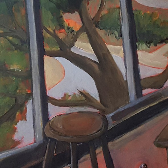 closeup photo of landscape painting from inside
