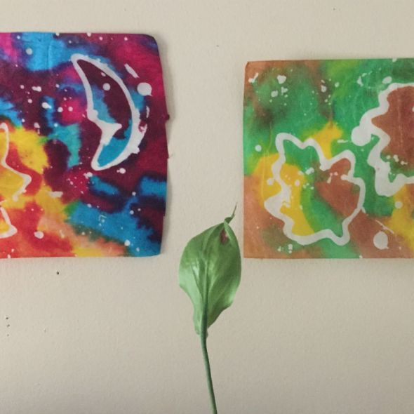 Sun & moon Batik and Leaves Batik with real leaf in middle