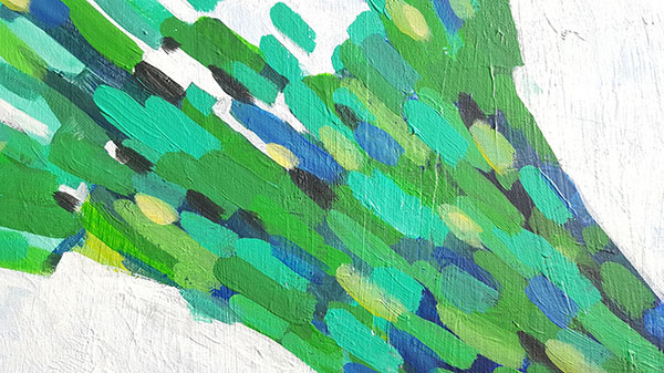 Close up of left abstract painting
