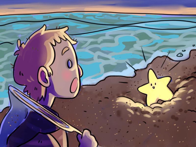 Boy discovers a star friend