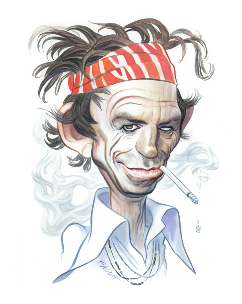 Keith Richards – watercolor and India ink on paper