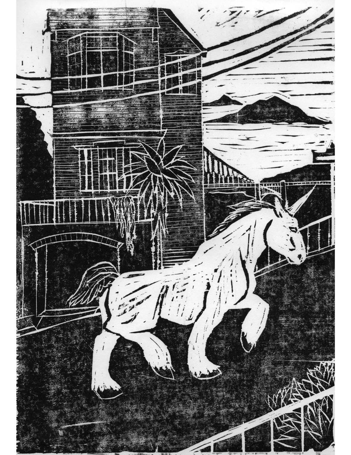 Unicorn on Union Woodcut Print
