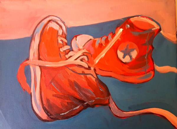 Middle stage of sneaker painting