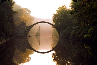bridge in mystical landscape