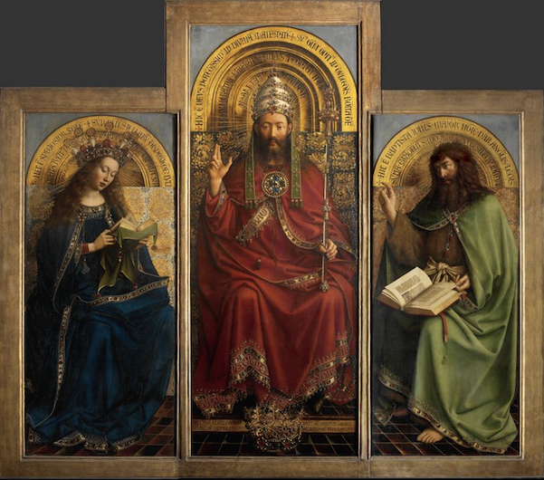 Close up of Virgin Mary, Christ and/or God, and St. John the Baptist