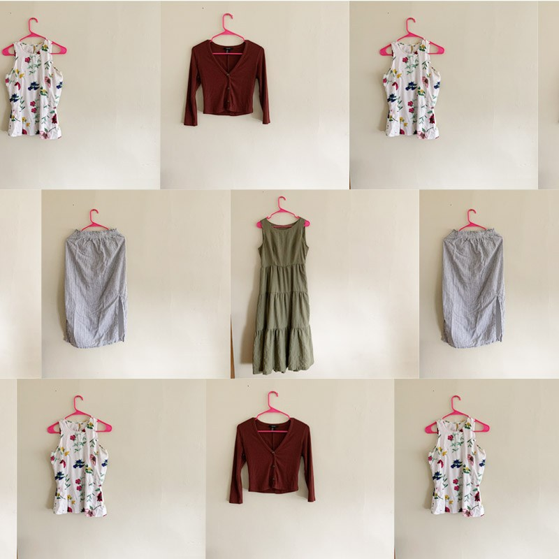 collage of hand made clothes