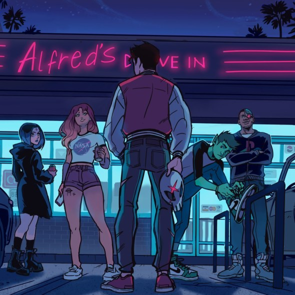 Teen Titans standing in front of a diner