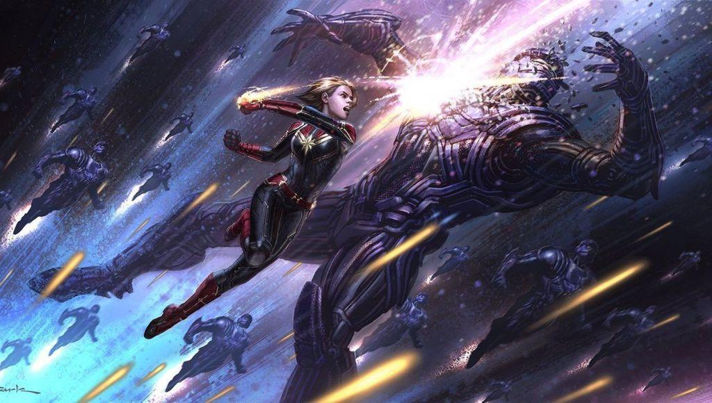 Captain Marvel Fighting A Monster