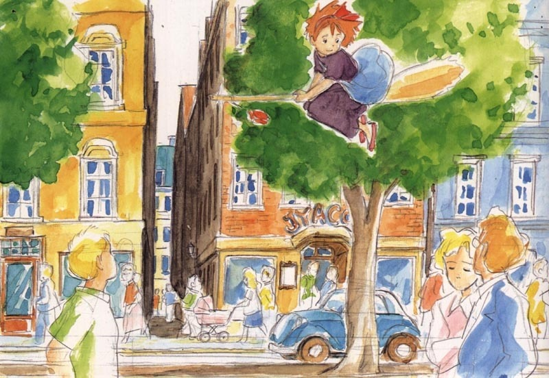 Concept art of kiki flying on her broom over the city