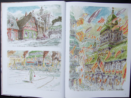 concept art of a scenery with buildings and bustling people in the streets