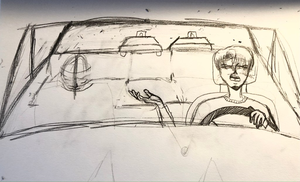 Drawing of two men in a car getting chased by cops
