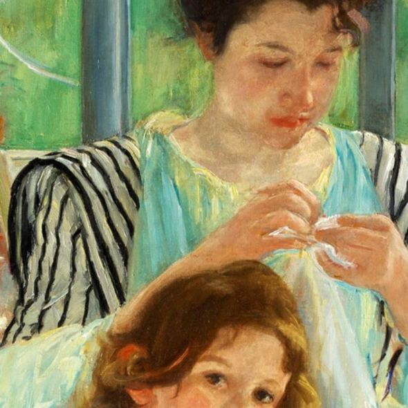 Mary Cassatt, Young Mother Sewing, 1900