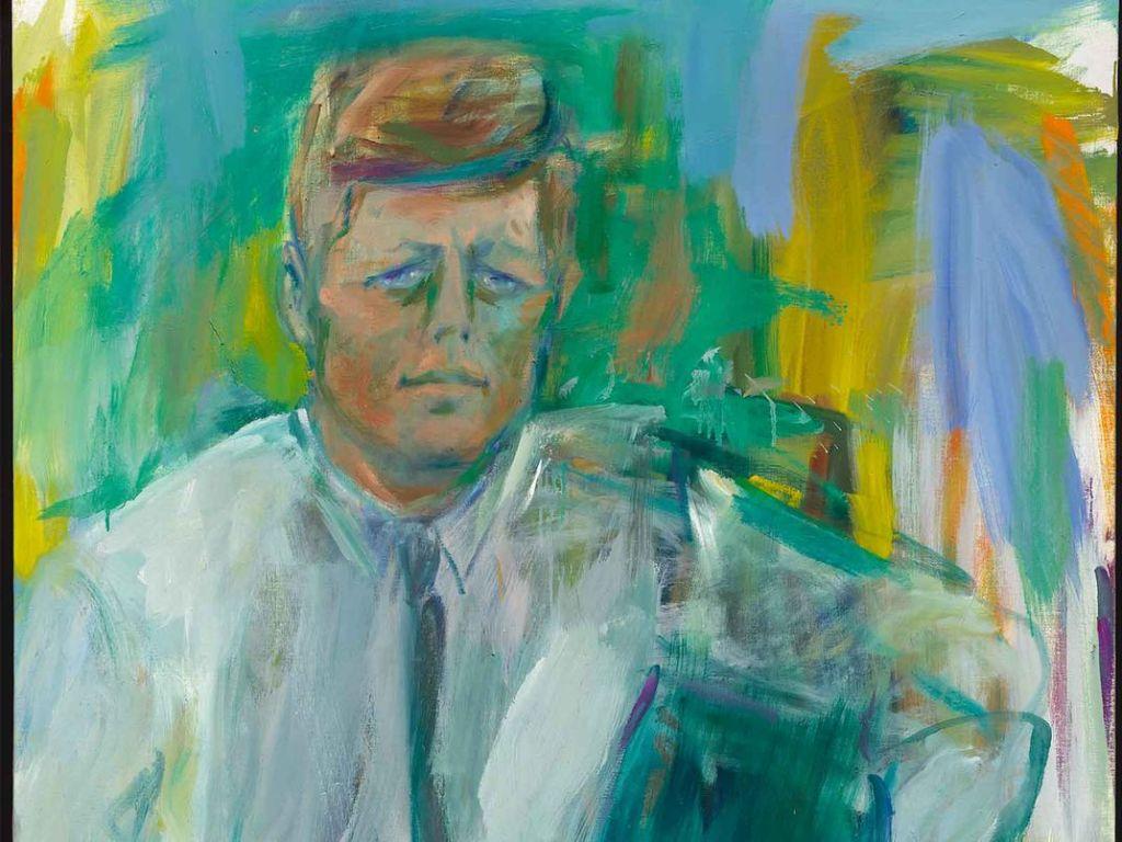 Elaine de Kooning, John F. Kennedy (close up of face), 1963