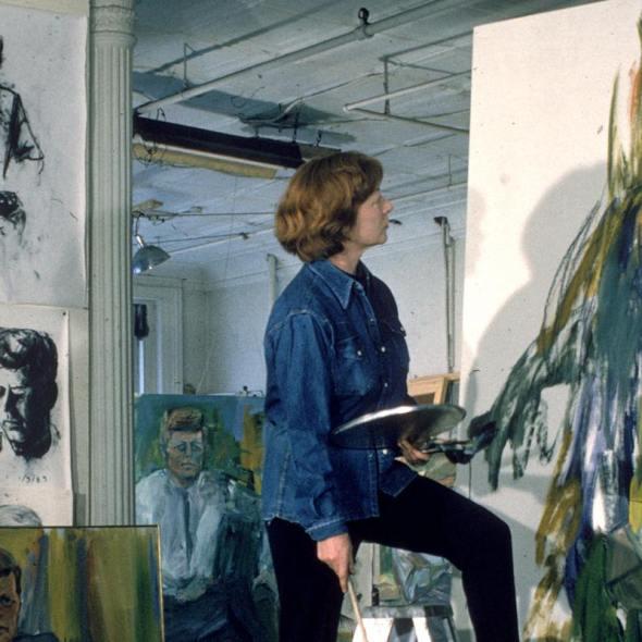 Elaine de Kooning in her studio