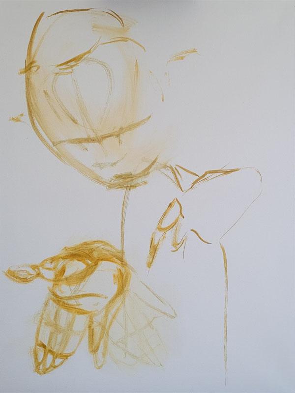 Tumnus Moran Painting for Sculpture Progress 1