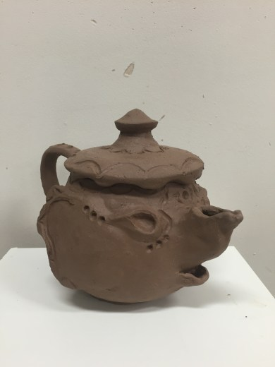 Leather hard elephant teapot
