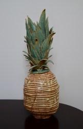 pineapple, ceramic, yellow, green, sculpture