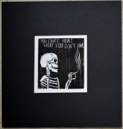 skeleton, black, white, print