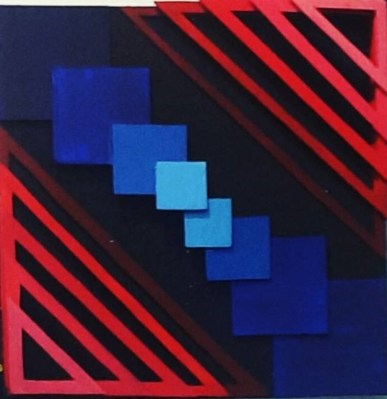 3D Art. Black background with red triangles arranged in a stair formation. on the corners. Blue squares going diagonally across in between the triangles