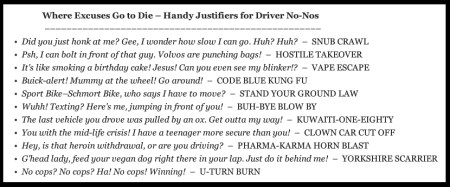 Where Excuses Go to Die presents__Handy Justifiers for Driver No-Nos