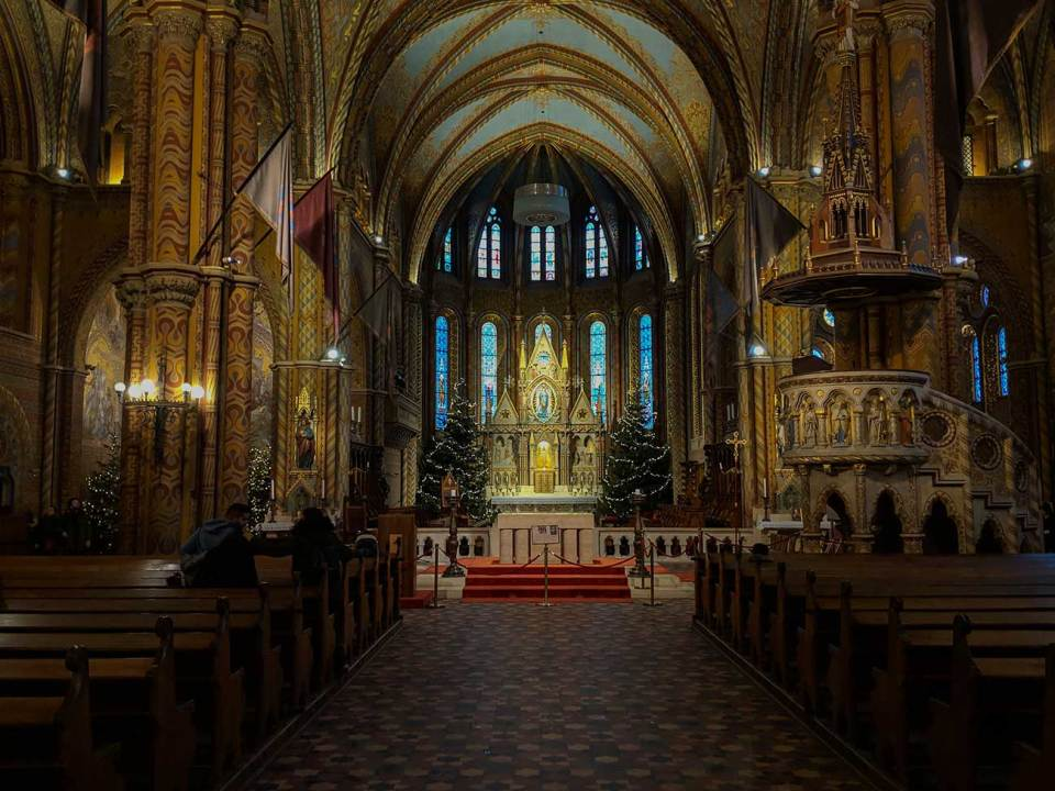 See the altar in Matthias Church in Budapest