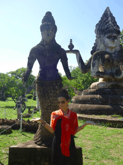 At the Vientiane Buddha Park and my sarong was their to cover my shoulders.