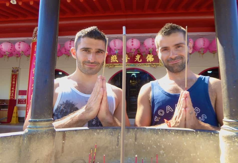 03 Stefan and Sebastien at the Puu Jih Syh Temple, Sandakan, Sabah, Malaysia Borneo, August 2015